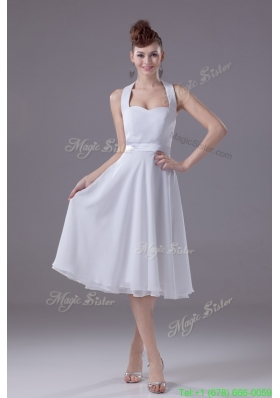 A line Halter Top Tiers Chiffon Wedding Dresses with Satin Ribbon