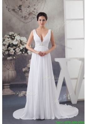Adorable White Court Train Plunging V neck Pleated Wedding Dress