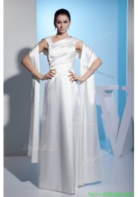 Asymmetrical Neck Ruched White Wedding Dresses Floor length