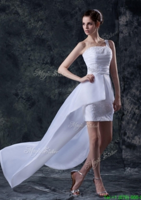 Beautiful Column One Shoulder High low Wedding Dresses with Appliques