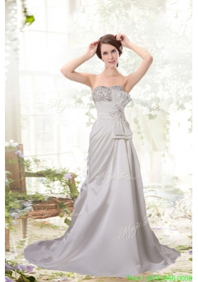 Pretty Column Sweetheart Beading Wedding Dresses with Court Train