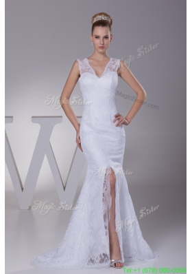 Romantic Mermaid V neck Lace Wedding Dress Online for Sale