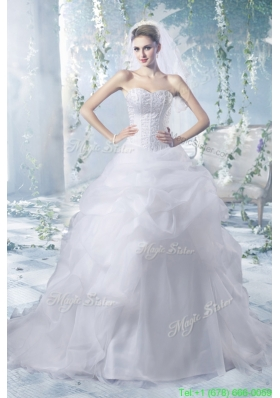 Summer Perfect Puffy Court Train Wedding Dresses with Beading