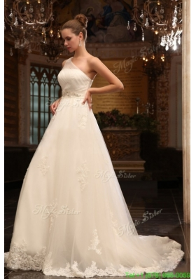 A Line One Shoulder Chapel Train Appliques Tulle Wedding Dress with Side Zipper