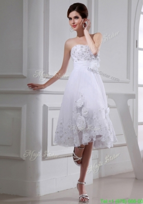 A line Strapless Tulle Appliques Hand Made Flower White Wedding Dress