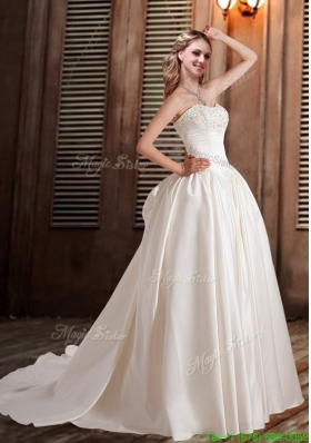 Cheap A Line Sweetheart Wedding Dresses with Chapel Train