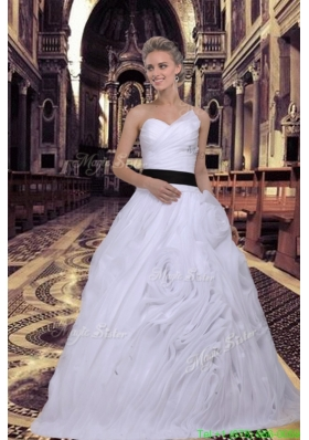 Elegant Ball Gown Sweetheart Ruffles White Wedding Dress with Lace Up