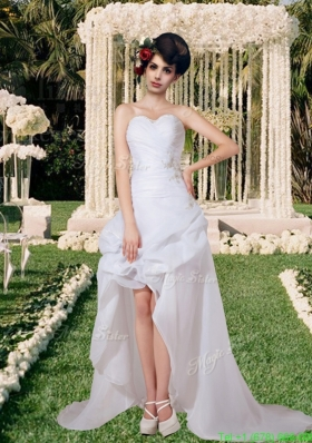 Sophisticated Sweetheart Appliques Wedding Dress with High Low