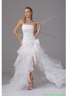 2016 A-line Strapless Ruching and Ruffles High-low Wedding Dress with Organza