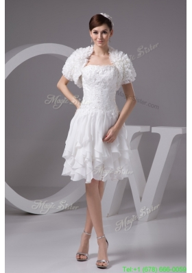 Appliqued and Ruffled Knee length Wedding Dresses with Jacket