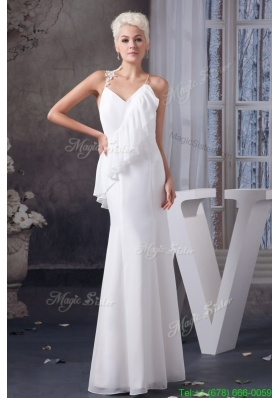Asymmetrical Appliqued and Ruffled Wedding Dresses with Criss Cross Back