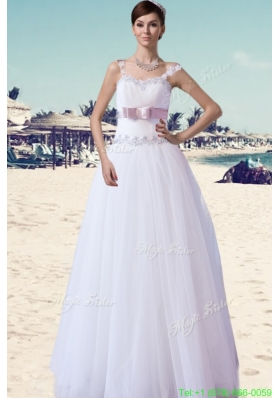 Brand New A Line Straps Floor length Beading and Belt Wedding Dress On Sale