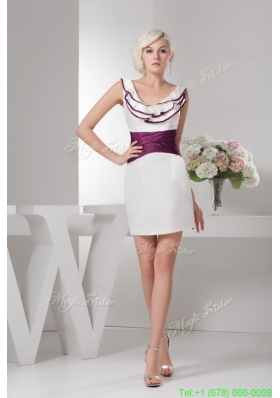 Ruches and Ruffles Accent Mini Wedding Dresses in White and Eggplant Purple