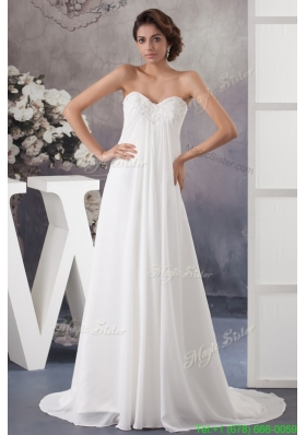 Summer Sweetheart Strapless Beaded and Ruched Wedding Dress with Brush Train