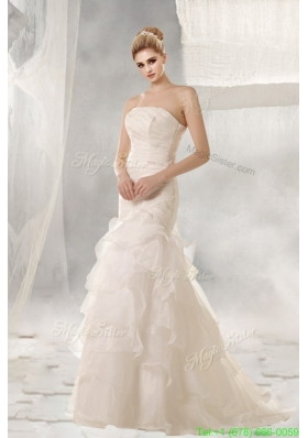 2016 Mermaid Strapless Brush Train Wedding Dress with Beading
