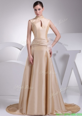 A line Champagne Beaute Bow Wedding Gowns with Ruching for Cheap