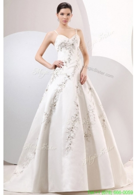 A Line Straps Embroidery Satin Wedding Dress with Zipper up