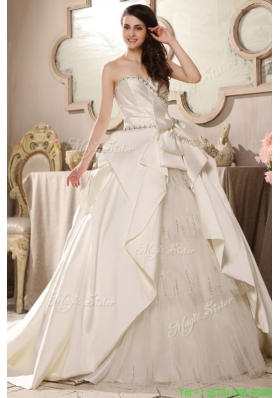 A line Sweetheart Beading Bow Ruching Chapel Train Wedding Dress