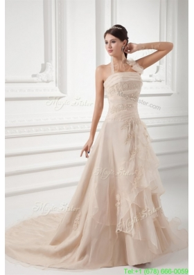 Champagne A line Halter Top Wedding Dress with Embroidery and Layers