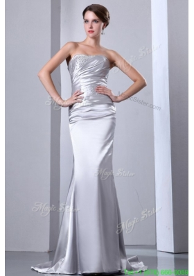 Column Strapless Grey Beading Ruching Brush Train Wedding Dress