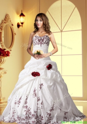 Elegant Ball Gown Sweetheart Brush Train Wedding Dress with Embroidery