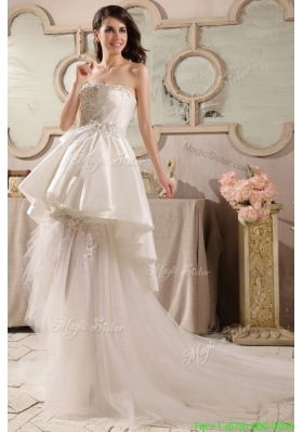 Fall Cute A Line Strapless Beading Tulle Wedding Dress with Court Train