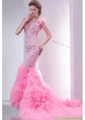 Fall Pink Mermaid V-neck Chapel Train Wedding Dress with Beading