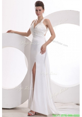 Popular Column Halter Beading Taffeta Wedding Dress with Court Train