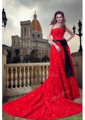 Red A line Strapless Cathedral Train Special Fabric Beading and Sash Wedding Dress
