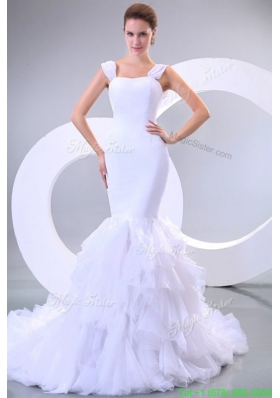 Spring Mermaid Straps Ruffles Organza Chapel Train Wedding Dress