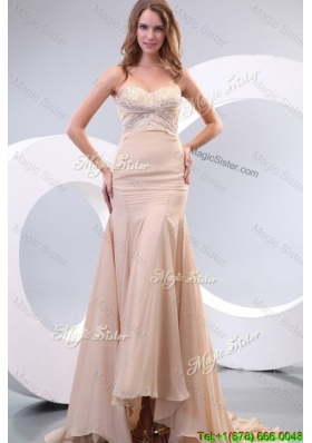 Summer Column Sweetheart Beading Ruching Chanmpagne Wedding Dress
