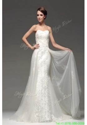 Summer Luxurious Memraid Sweetheart Sweep Train Wedding Dress with Lace