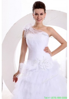 Summer One Shoulder Appliques and Hand Made Flowers Tulle Wedding Dress