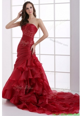 Winter Wine Red Court Train Wedding Dress with Appliques and Ruffles