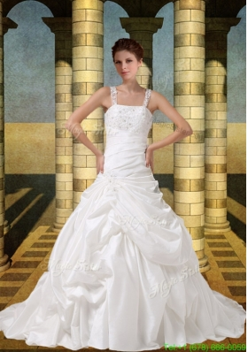 2015 Spring Embroidery A Line Straps Wedding Dress with Brush Train
