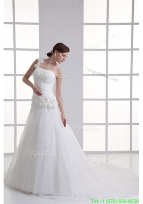 A line One Shoulder Appliques Ruching Court Train Wedding Dress