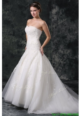 A Line Tulle Sweetheart Court Train Beading Appliques Lace Up Taffeta Wedding Dress