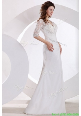 Fall V neck Column Appliques Long Wedding Dress with Half Sleeves