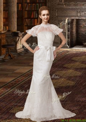 Fashionable Column Brush Train Lace Wedding Dresses with High Neck