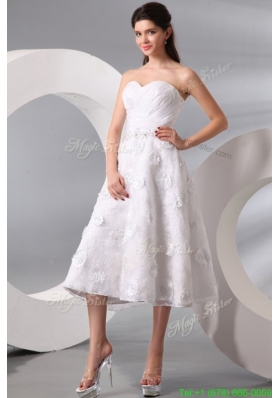 Popular Sweetheart Hand Made Flowers and Beading Tea length Wedding Dress