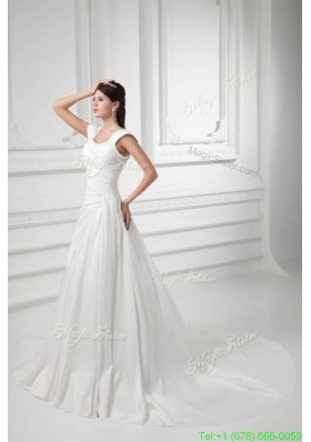 Pretty A line Straps Chapel Train Wedding Dress with Ruching