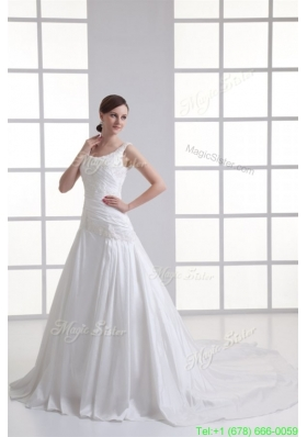 Spring Luxurious A line Scoop Chapel Train Wedding Dress with Appliques