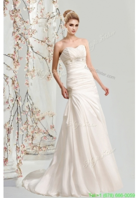Summer Cheap Sweetheart Sweep Train Wedding Dress with Lace Up