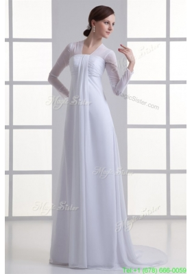Summer Empire Square Long Sleeves Brush Train Chiffon Wedding Dress
