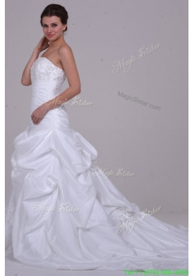Summer Princess Strapless Beading Taffeta Wedding Dress with Court Train