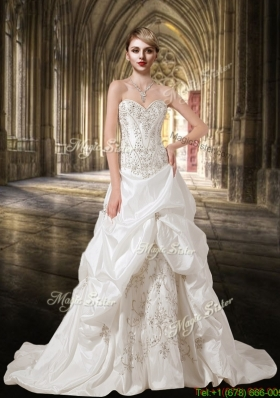 Summer White Embroidery and Beading A Line Sweetheart Wedding Dresses