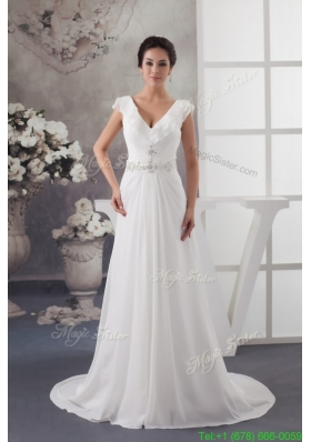 Latest Sweep Train V neck Beaded Ruched  White Wedding Dress