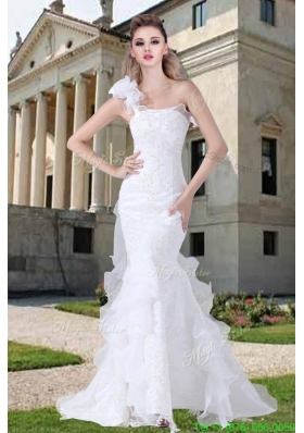 One Shoulder Ruffles Mermaid Appliques Wedding Dresses for 2016