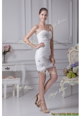 Summer Column Sweetheart Beading and Ruching Short Wedding Dress