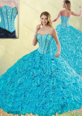 2016 Exquisite Aqua Blue Quinceanera Dresses with Beading